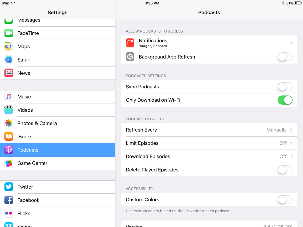 settings menu for podcasts on ipad