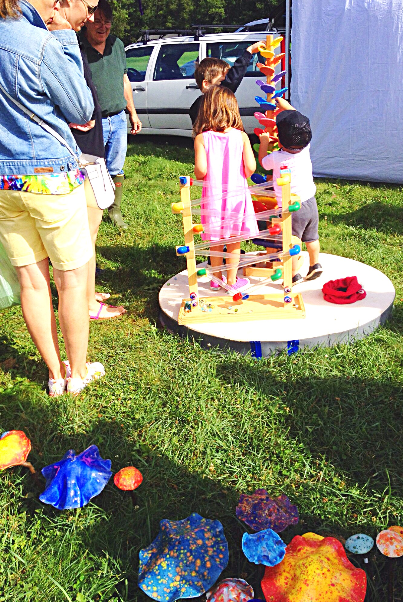 Photo of kids playing with marble run.