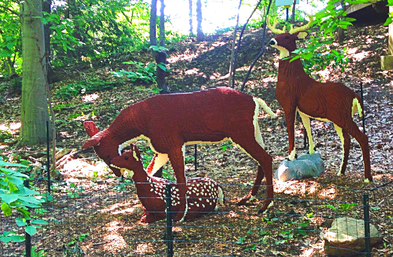 photo of brown and white Lego sculptures of a deer family