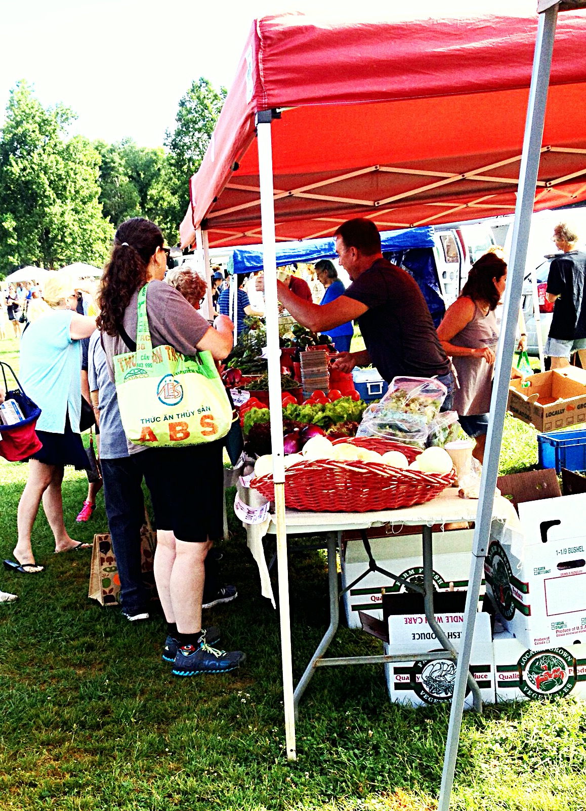 Photo of patrons buying veggies at farm stand
