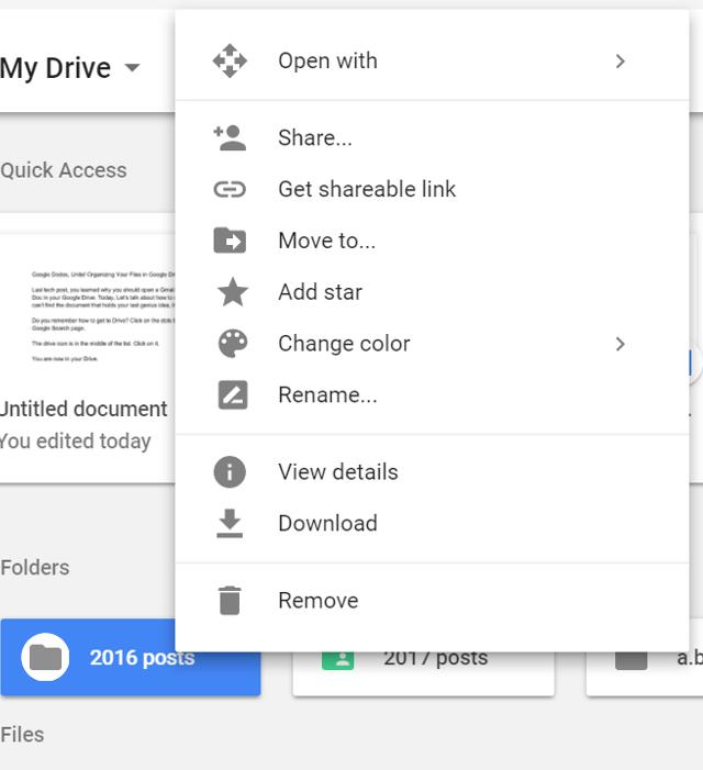 Screenshot of List of folder actions