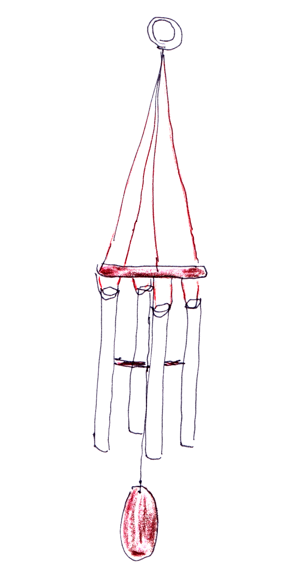 drawing of wind chimes