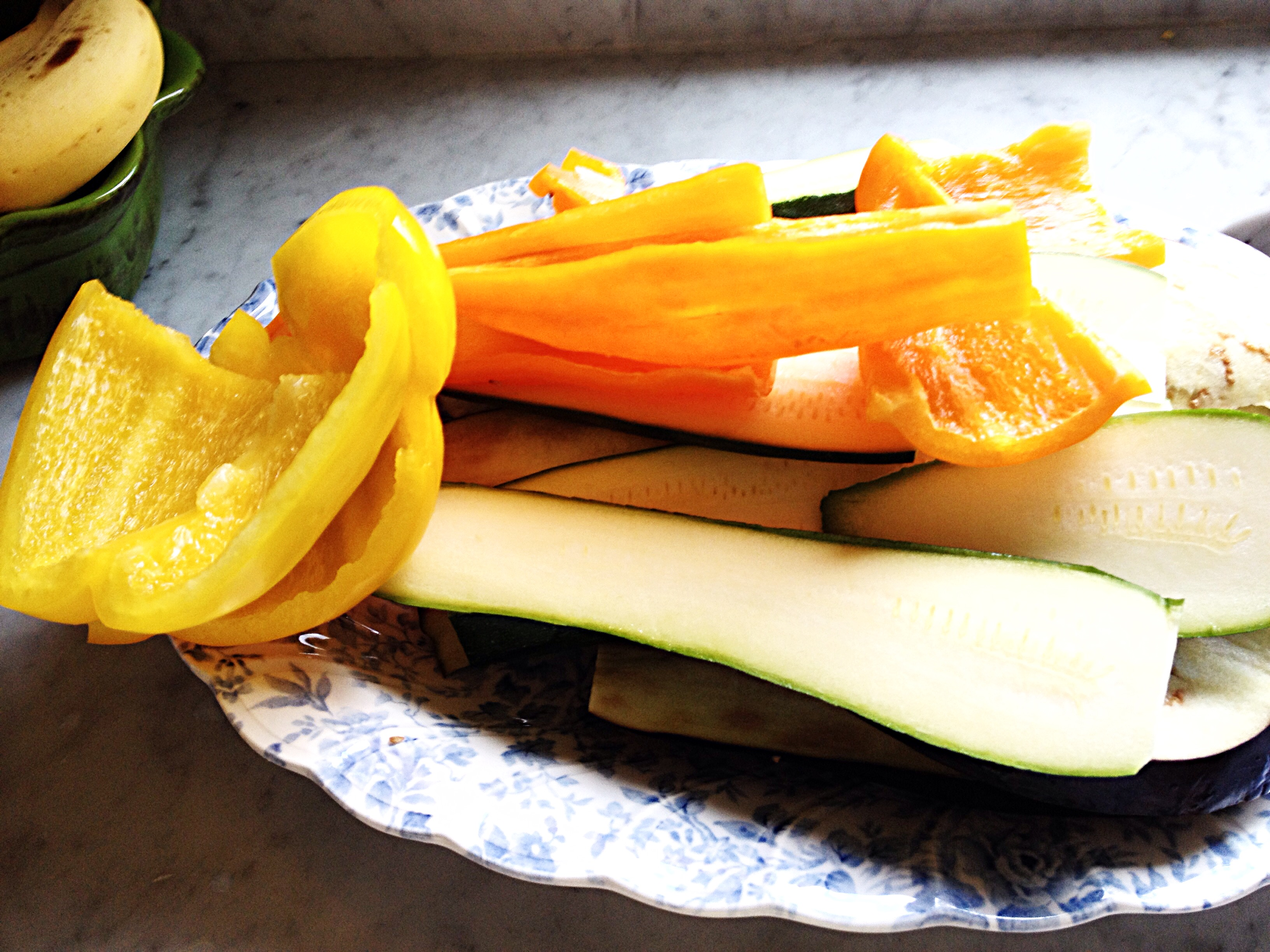 Veggies cut up for grilling