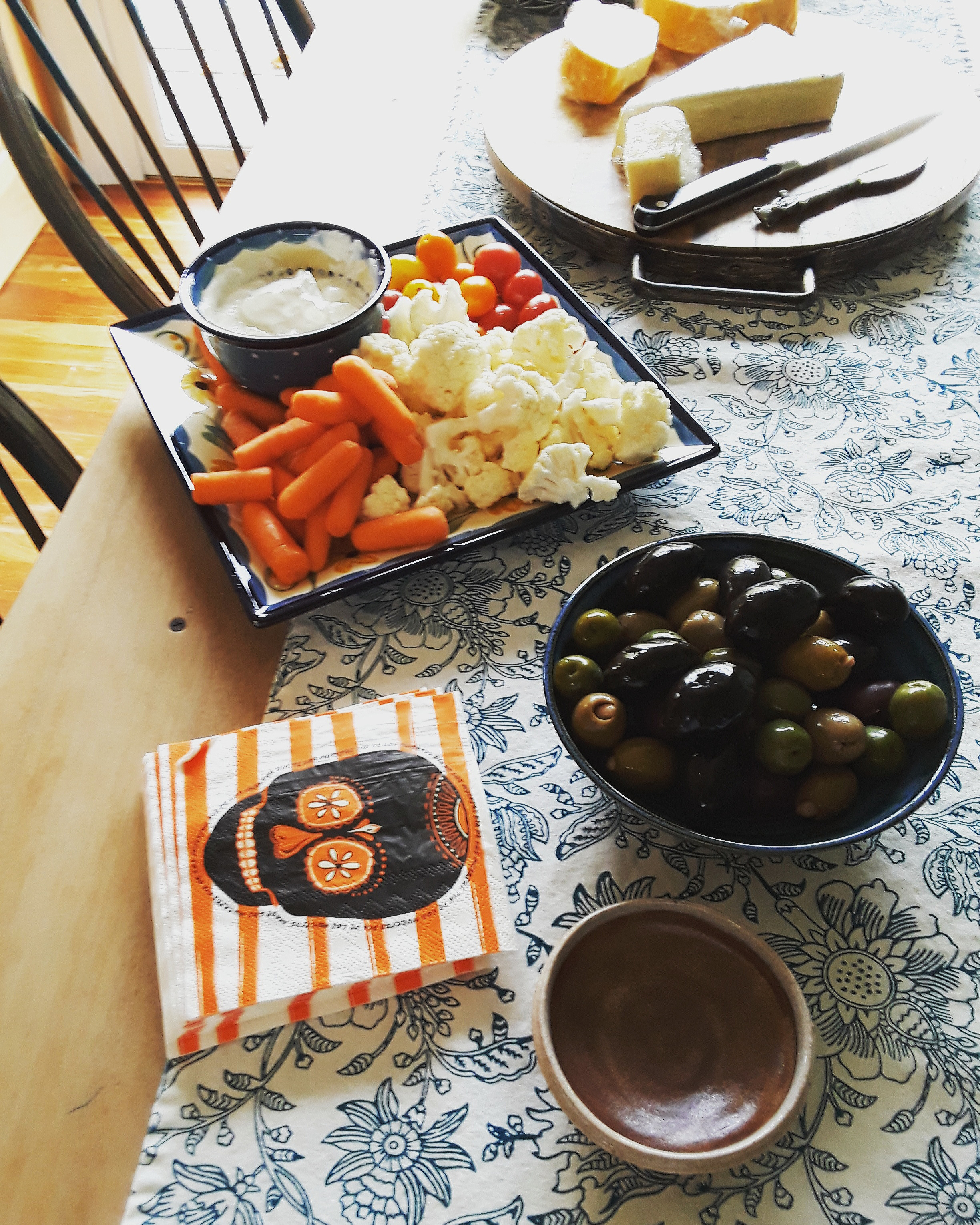 crudite, cheeses, olives, and crackers