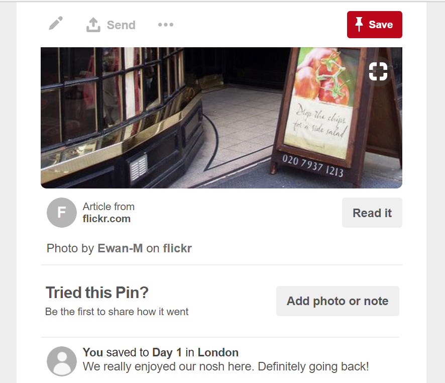 Edit the text of a pin to record your memories.
