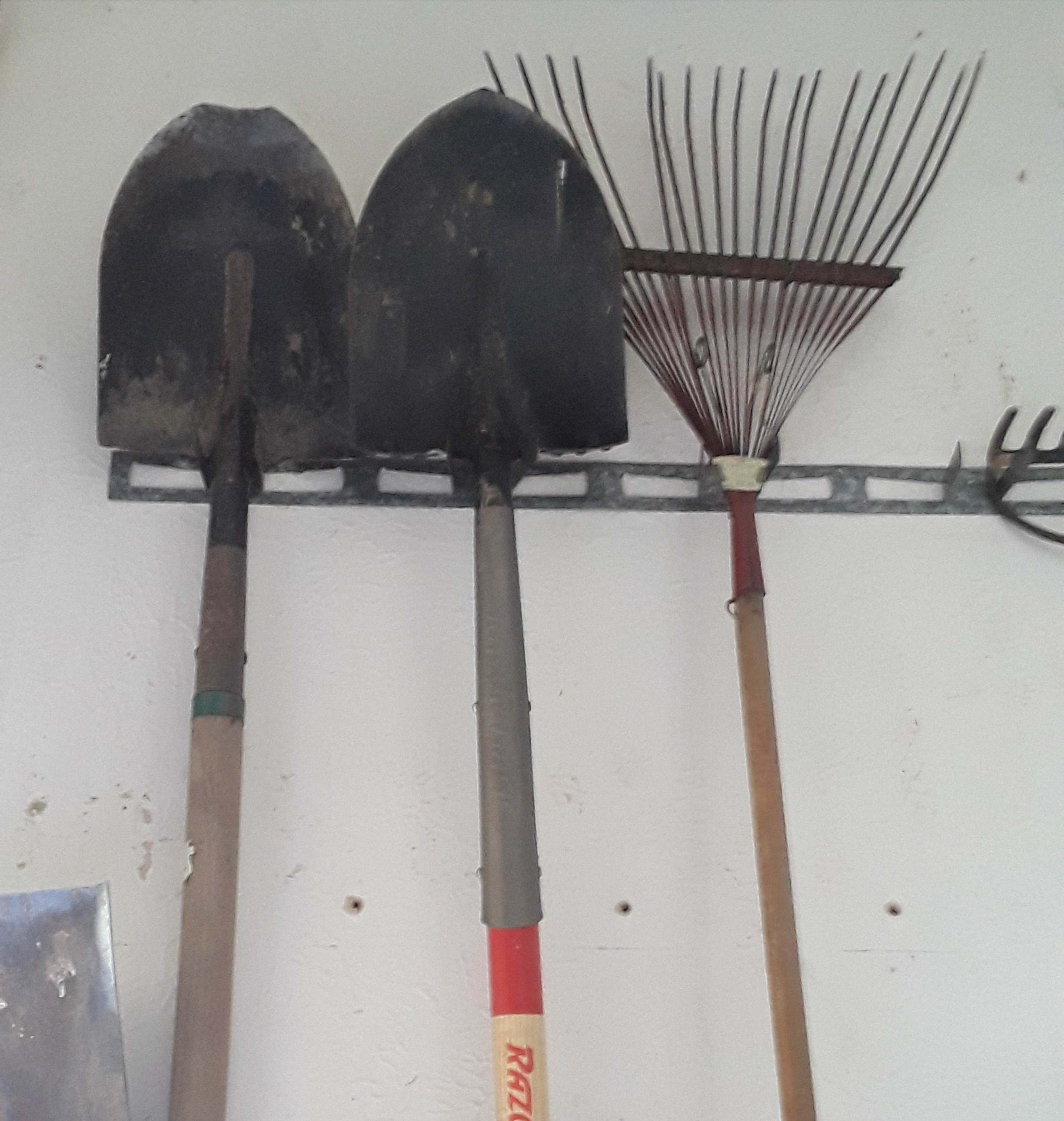 a rake and two shovels are hanging in the garage