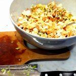 mixing bowl with salmon cake ingredients