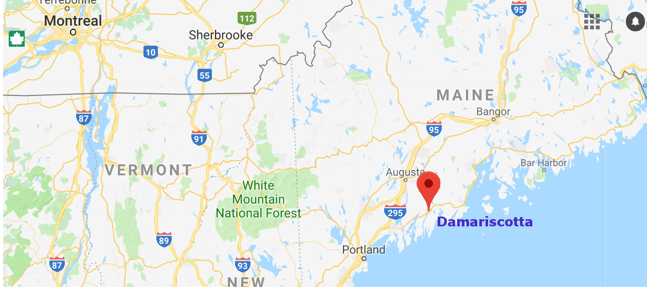 Damariscotta is located on a river that leads to the Atlantic.