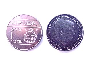 heads and tails of Aruban florin