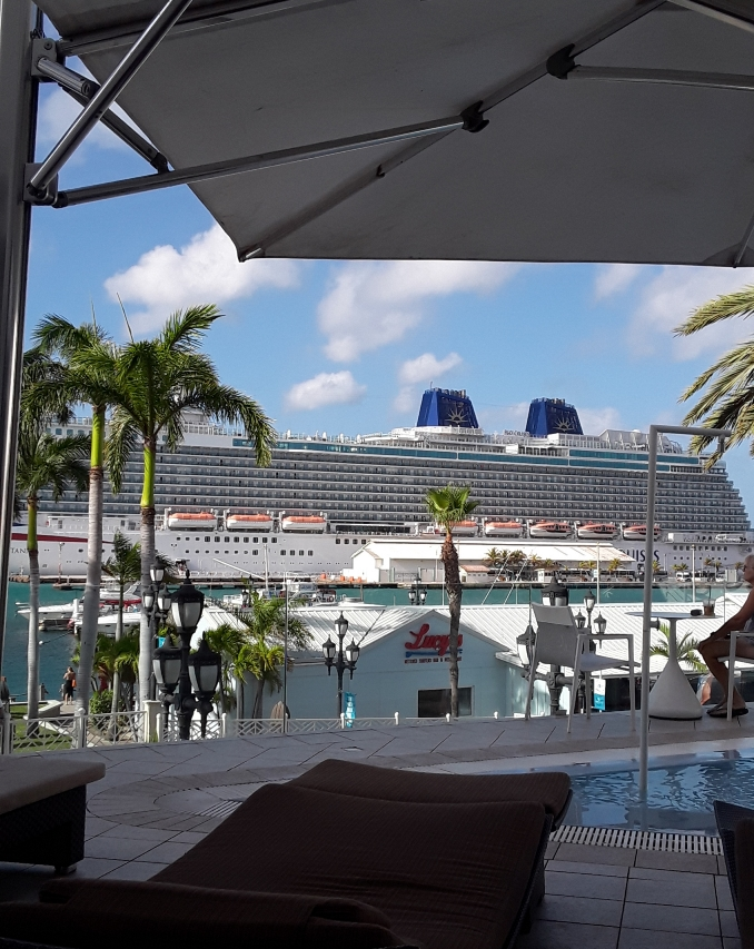 A gigantic cruise ship in port.