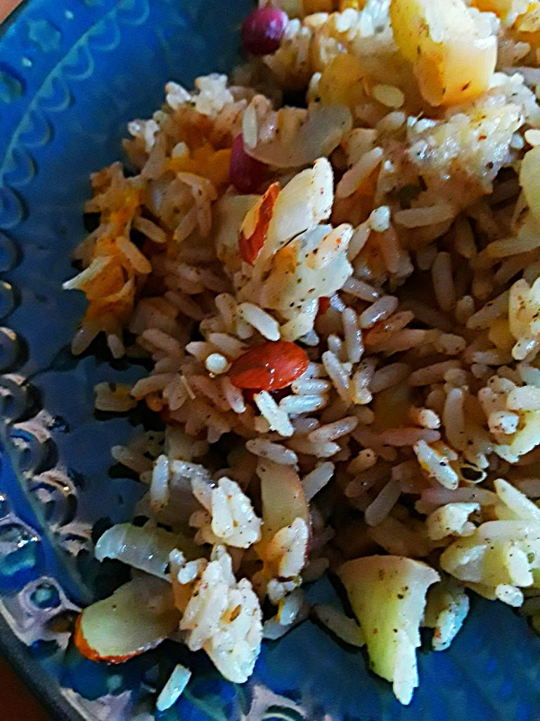 rice dressing on blue plate