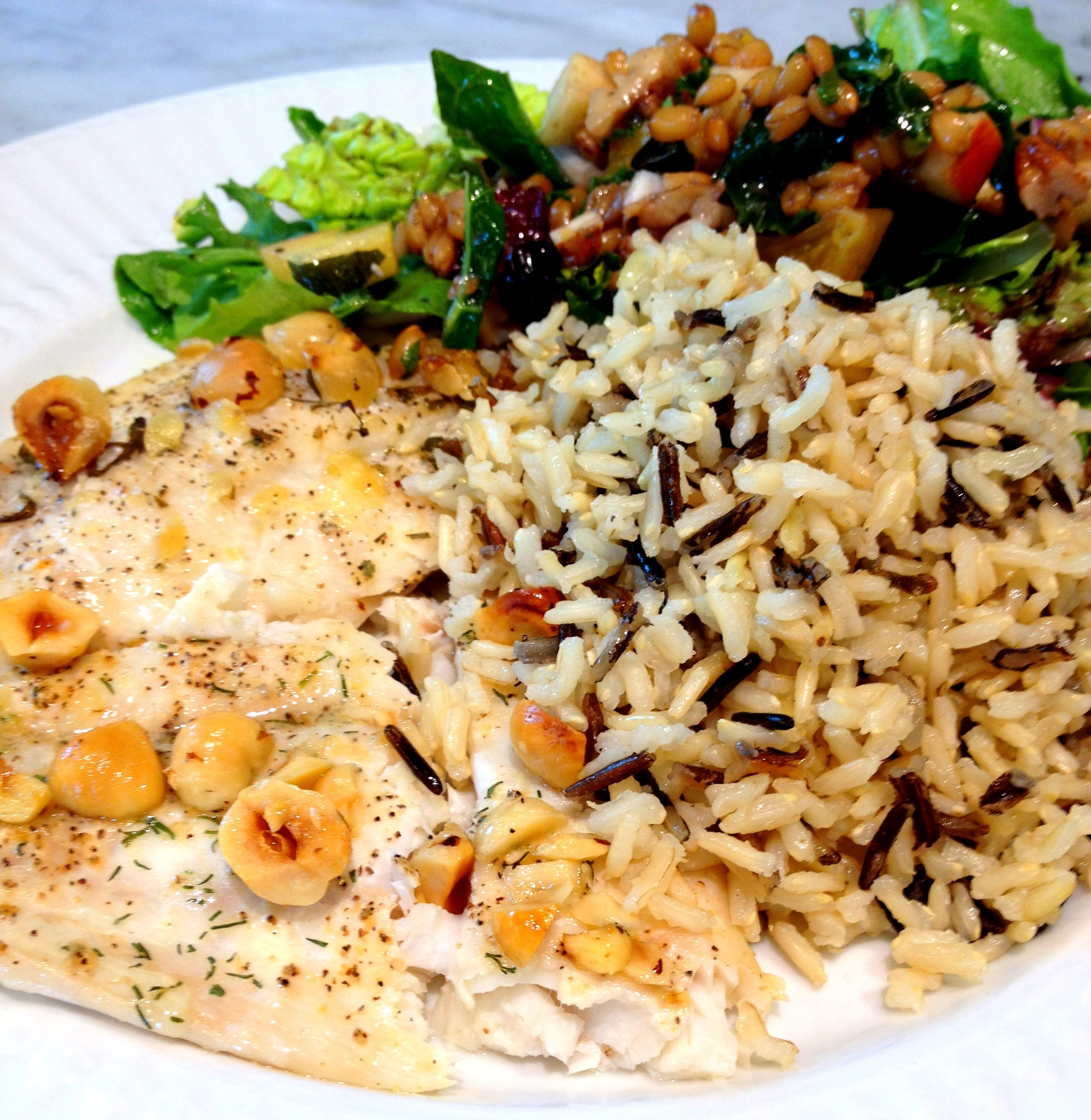 filet of sole with hazelnut butter, wild rice, and wheatberry salad