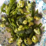 Broccoli cut into florets and snap peas halved.