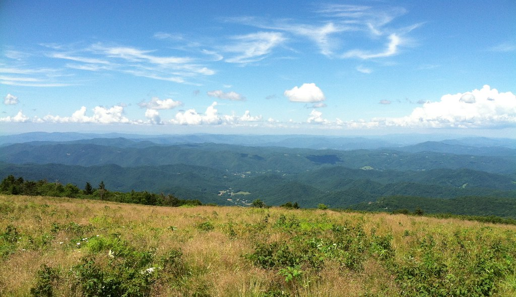blue skies and layers of mountain views in an Appalachian view